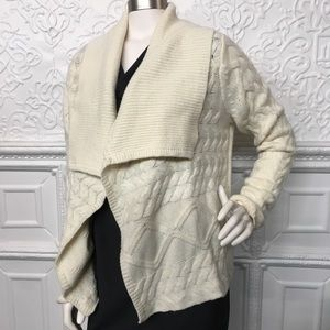 Michael Kors Wool Open Cream Cardigan Medium